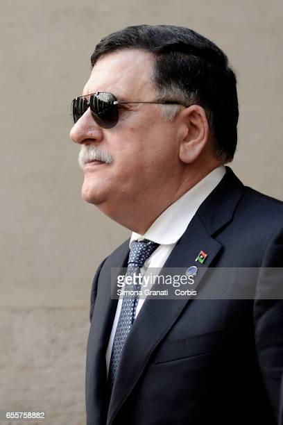Libyan Prime Minister Fayez alSarraj arrives to vat Palazzo Chigi on March 20 2017 in Rome Italy