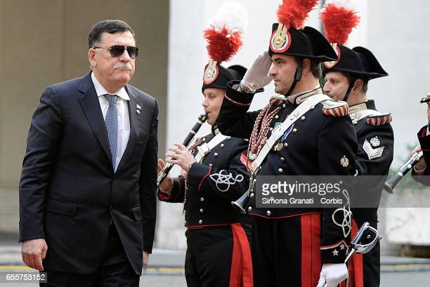 Libyan Prime Minister Fayez alSarraj at Palazzo Chigi during the meeting with the prime minister Paolo Gentilonion March 20 2017 in Rome Italy