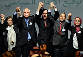 Libya's General National Congress deputy president Saleh alMakhzoum the new national government head Prime Minister Fayez alSarraj and the head of...
