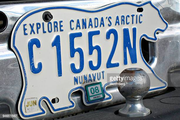 A license plate for Nunavut Canada's newest territory which was carved from the Northwest Territories in 1999 is displayed on a vehicle in Iqaluit...