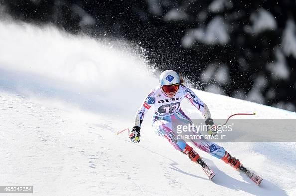 Lichtenstein's Tina Weirather competes in the women's downhill training's competition of the FIS alpine ski world cup in GarmischPartenkirchen...