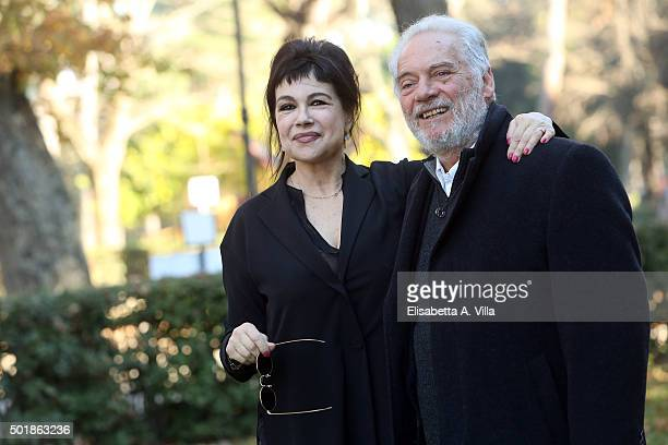 Licia Maglietta and Giorgio Colangeli attend a photocall for 'Tutto Puo' Succedere' RAI TV Serie at Villa Borghese on December 18 2015 in Rome Italy