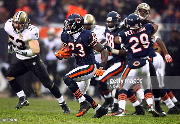 lick returner Devin Hester of the Chicago Bears returns a punt against the New Orleans Saints during the NFC Championship Game January 21 2007 at...