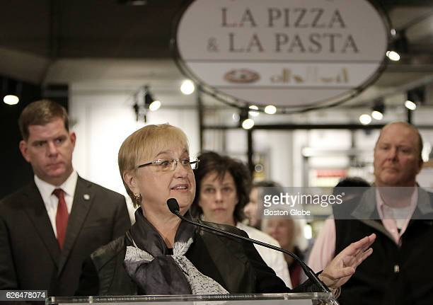 Lidia Bastianich a partner with Eataly USA speaks at a press conference at Eataly in the Prudential Center in Boston on Nov 29 2016 The Italian food...