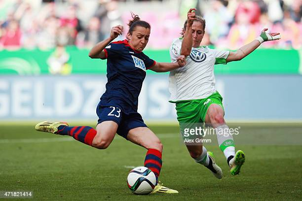 Lidija Kulis of Potsdam is challenged by Anna Blaesse of Wolfsburg during the Women's DFB Cup Final between Turbine Potsdam and VfL Wolfsburg at...