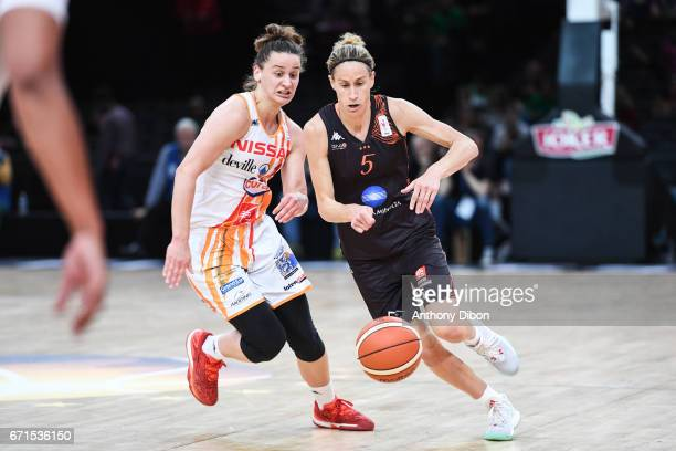 Lidija Turcinovic of Charleville Mezieres and Paoline Salagnac of Bourges during the women's Final of the French Cup between Charleville Mezieres and...