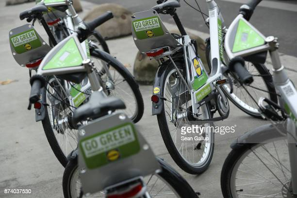 Lidl sharing bicycles stand parked in the city in the city center on November 14 2017 in Berlin Germany A number of companies have plunged into the...