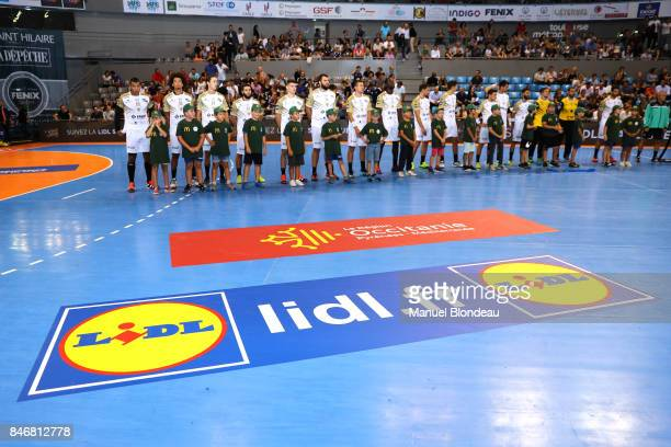 Lidl sponsor of the french Handball league during Lidl Star Ligue match between Fenix Toulouse and Pays D'aix Universite Club on September 13 2017 in...