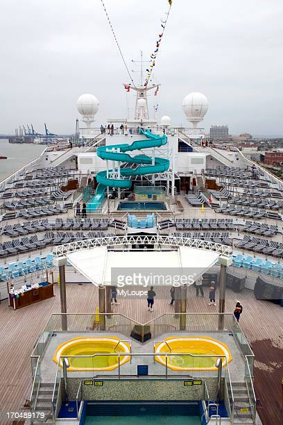 Lido deck with sun and swimming pool before the cruise cruise out of Galveston Texas to Jamaica Grand Cayman and Cozumel Mexico