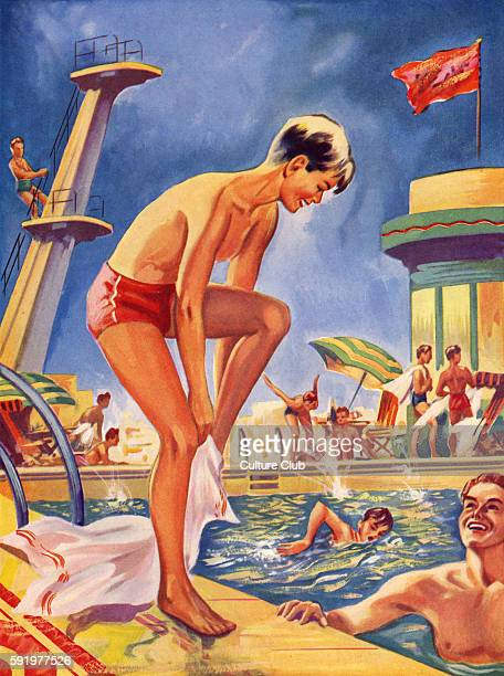 Lido swimming pool 1930s Illsutration from late 1930s artist not known from Wonder Book series