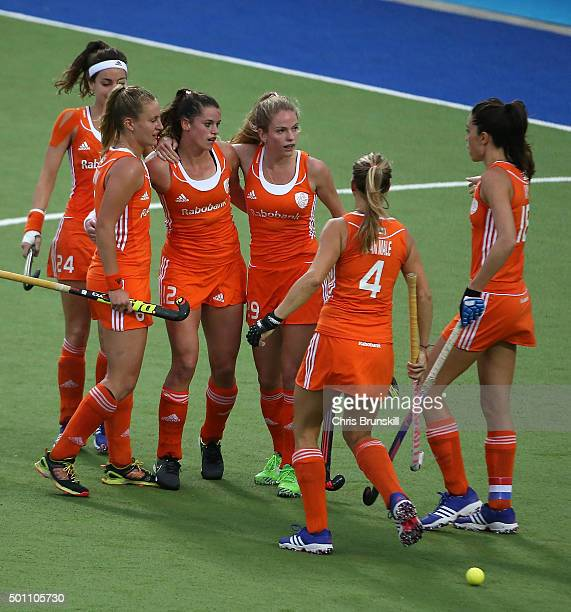 Lidweij Welten of the Netherlands celebrates scoring the first goal with her teammates during the 5th/6th place match between the Netherlands and...
