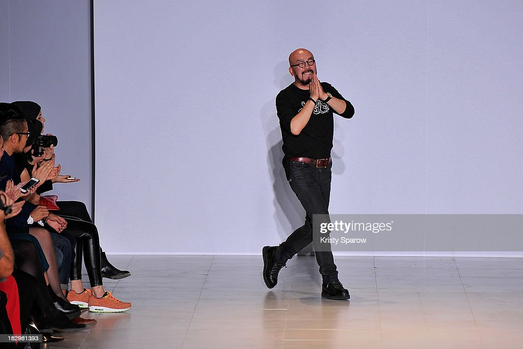 Lie Sang Bong acknowledges the audience during the Lie Sang Bong show as part of Paris Fashion Week Womenswear Spring/Summer 2014 on October 2, 2013 in Paris, France.