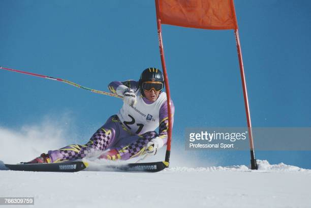 Liechtenstein alpine skier Achtim Vogt pictured during competition to finish in 21st place in the Men's giant slalom skiing event held at Hafjell...