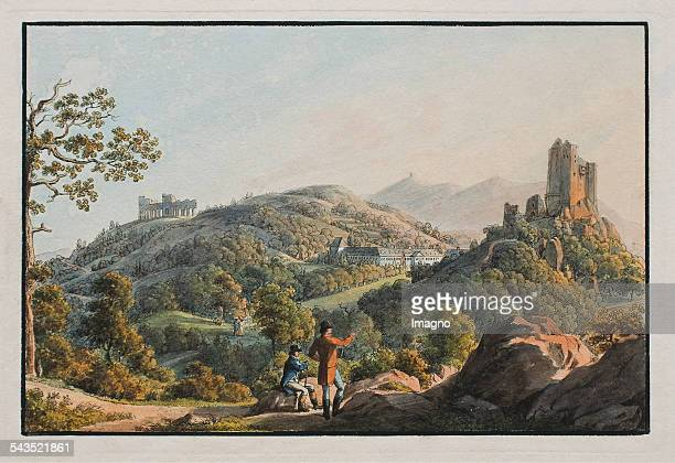 Liechtenstein Old Castle and New Castle and amphitheater in Maria Enzersdorf Colored etching 1813 by Karl Viehbeck and Johann Adam Klein...