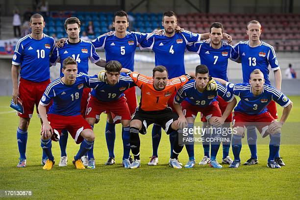 Liechtenstein's national football team Nicolas Hasler Mathias Christen goalkeeper Peter Jehle Sandro Wieser and Yves Oehri Mario Frick Andreas...