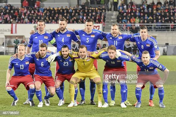 Liechtenstein's national football team players pose for a group photo before the Euro 2016 qualifying football match between Liechtenstein and...