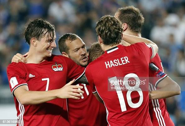 Liechtenstein's player celebrate after scoring a goal during the World Cup 2018 qualification football match between Israel and Liechtenstein at the...