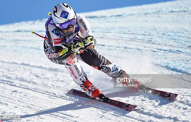 Liechtenstein's Tina Weirather competes during the second training run of the women's downhill competition of the FIS Alpine Skiing World Cup in...