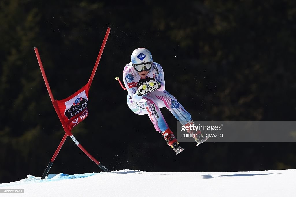 Liechtenstein's Tina Weirather competes in the Women's downhill at the FIS Alpine Skiing World Cup finals in Meribel on March 18 2015 AFP PHOTO /...