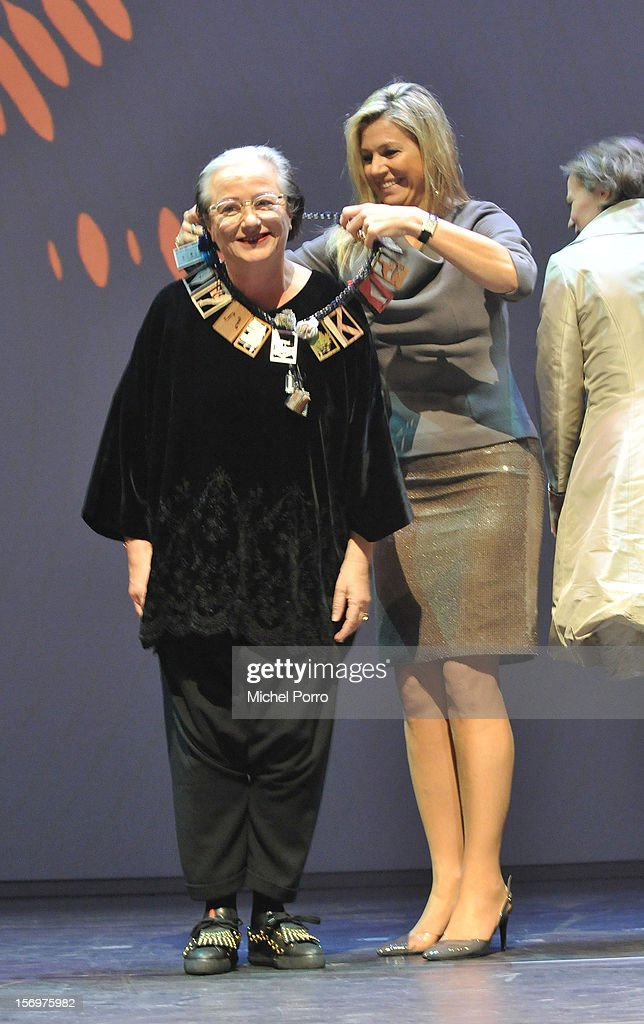 Liedewei Edelkoort and Princess Maxima of The Netherlands during the award ceremony of the Prince Bernhard Culture Prize (pool) on November 26, 2012 in Amsterdam, Netherlands.