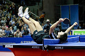 German Timo Boll celebrates defeating Chinese Wang Hao in the final match of the table tennis World Cup 23 October 2005 in Liege BELGA PHOTO MICHEL...