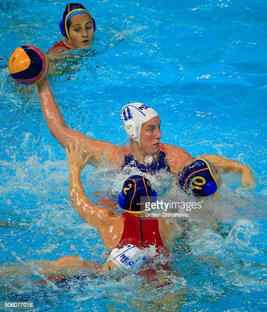 Lieke Klaassen of Netherlands in action against Roser Tarrago and Marta Bach of Spain during the Women's Semifinal match between Spain and...