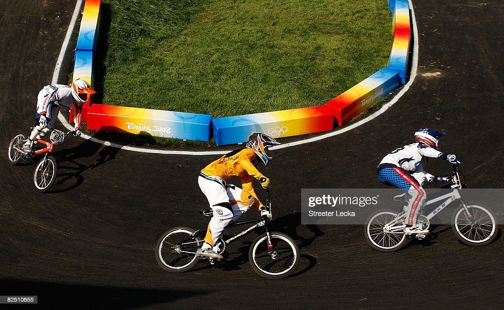 Lieke Klaus of the Netherlands Nicole Callisto of Australia and Shanaze Reade of Great Britain compete in the Women's BMX semifinal run held at the...
