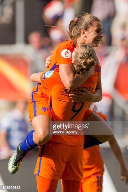 Lieke Martens and Vivianne Miedema of Netherlands in action against Cecilie Sandvej of Denmark during the Final match of the UEFA Women's Euro 2017...