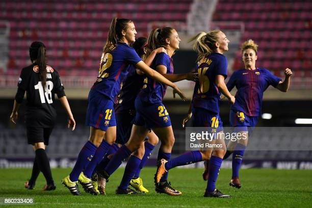 Lieke Martens of FC Barcelona celebrates with her team mates after scoring his team's first goal during the UEFA Womens Champions League round of 32...