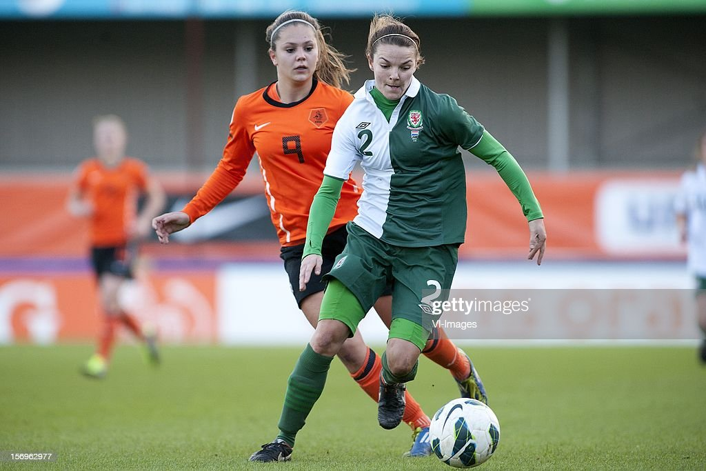 Lieke Martens of Holland, Loren Dykes of Wales during the Women's international friendly match between Netherlands and Wales, at Tata steel stadium on November 25, 2012 in Velzen-Zuid, Netherlands.