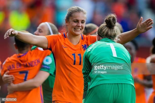 Lieke Martens of Holland Women goalkeeper Sari van Veenendaal of Holland Women during the UEFA WEURO 2017 final match between The Netherlands and...