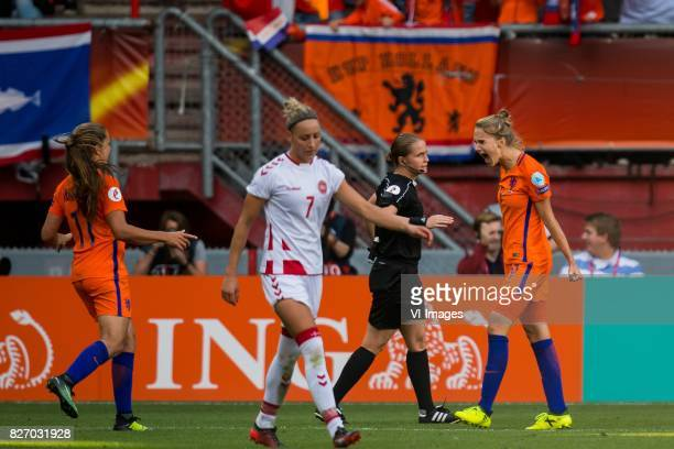 Lieke Martens of Holland Women Sanne Troelsgaard of Denmark women Vivianne Miedema of Holland Women during the UEFA WEURO 2017 final match between...