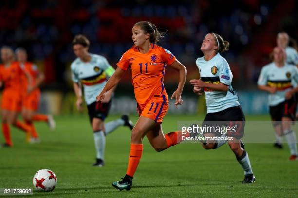 Lieke Martens of Netherlands breaks through the defense and scores the 2nd goal during the Group A match between Belgium and Netherlands during the...
