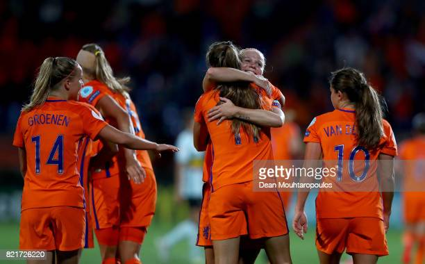 Lieke Martens of Netherlands celebrate with her team mates after she scores the 2nd goal during the Group A match between Belgium and Netherlands...