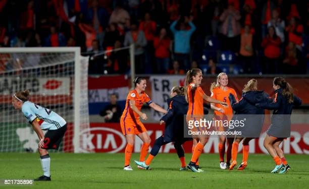Lieke Martens of Netherlands celebrate with her team mates victory over Belgium after the Group A match between Belgium and Netherlands during the...
