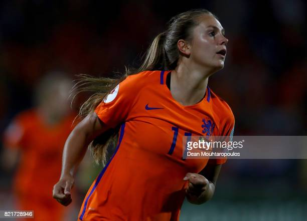 Lieke Martens of Netherlands celebrates after she scores the 2nd goal during the Group A match between Belgium and Netherlands during the UEFA...