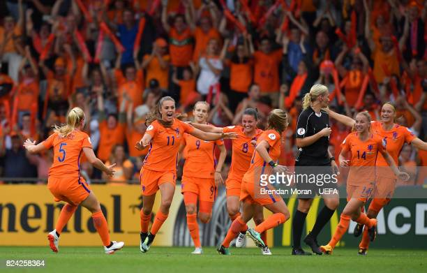 Lieke Martens of Netherlands celebrates with teammates after scoring their side's first goal during the UEFA Women's EURO 2017 QuarterFinal match...