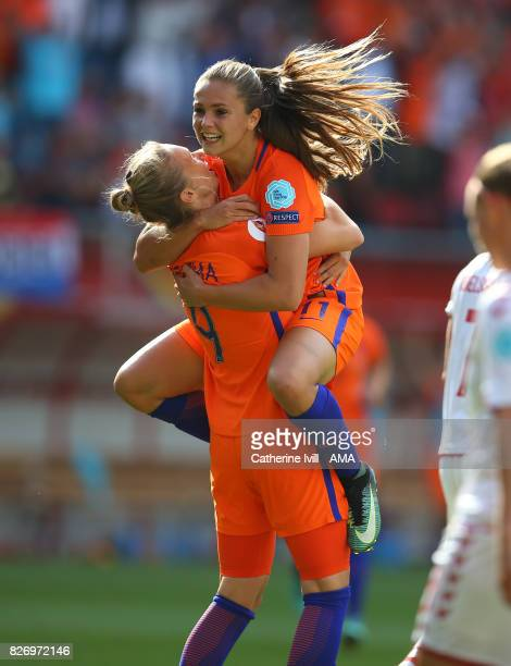 Lieke Martens of Netherlands Women celebrates after scoring ti make it 21 with Vivianne Miedema of Netherlands Women during the UEFA Women's Euro...