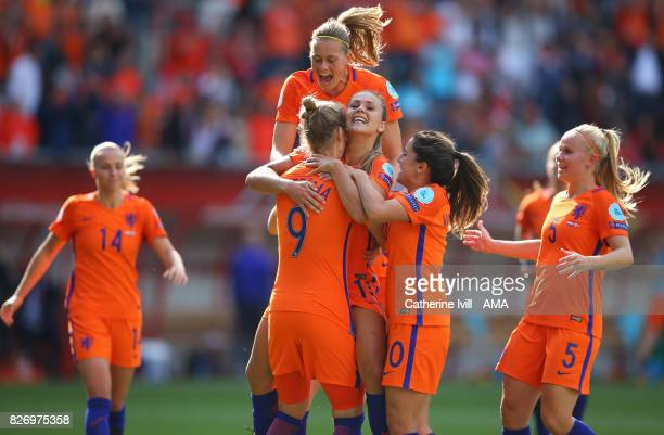 Lieke Martens of Netherlands Women celebrates after scoring to make it 21 with her team mates during the UEFA Women's Euro 2017 final match between...