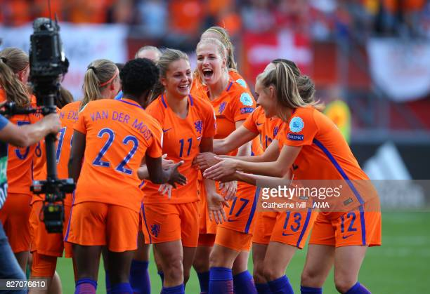 Lieke Martens of Netherlands Women celebrates with her team mates after the UEFA Women's Euro 2017 final match between Denmark and Netherlands at De...