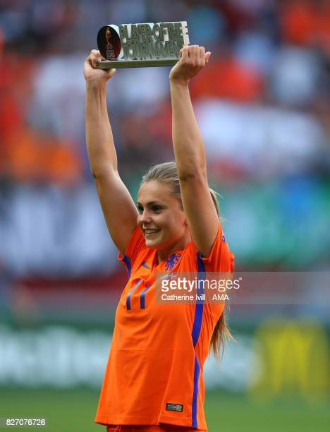 Lieke Martens of Netherlands Women with the player of the tournament trophy after the UEFA Women's Euro 2017 final match between Denmark and...