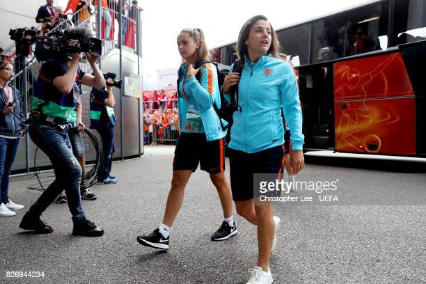 Lieke Martens of the Netherlands and Danielle van de Donk of the Netherlands arrive at the stadium prior to the Final of the UEFA Women's Euro 2017...