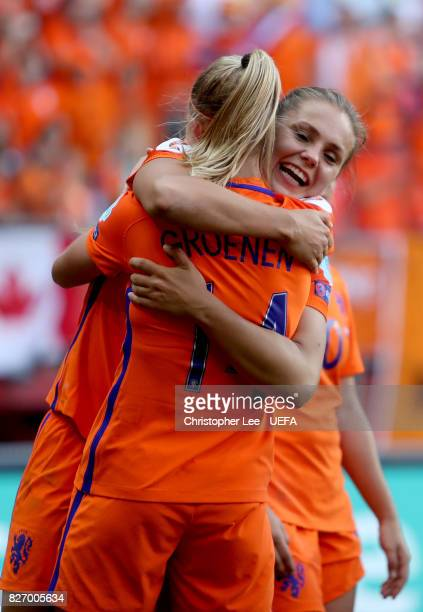 Lieke Martens of the Netherlands and Jackie Groenen of the Netherlands celebrate following the Final of the UEFA Women's Euro 2017 between...