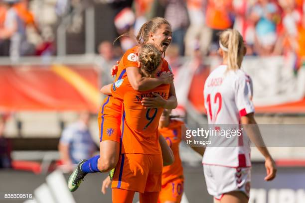 Lieke Martens of the Netherlands and Vivianne Miedema of the Netherlands celebrates after scoring his team`s second goal during the UEFA Women's Euro...