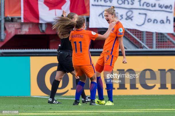 Lieke Martens of the Netherlands and Vivianne Miedema of the Netherlands celebrate their win during the UEFA Women's Euro 2017 final match between...
