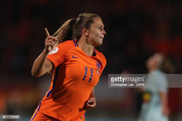 Lieke Martens of the Netherlands celebrates scoring their second goal during the UEFA Women's Euro 2017 Group A match between Belgium and Netherlands...