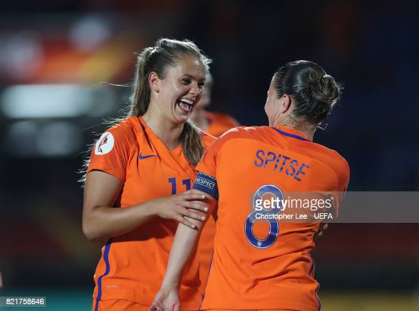 Lieke Martens of the Netherlands celebrates their victory with Sherida Spitse of the Netherlands during the UEFA Women's Euro 2017 Group A match...