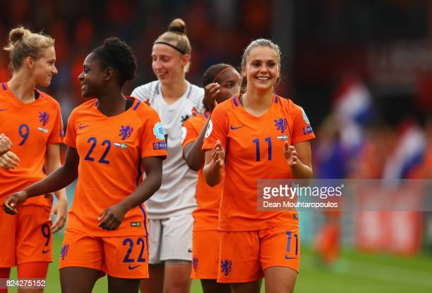 Lieke Martens of the Netherlands celebrates victory during the UEFA Women's Euro 2017 Quarter Final match between Netherlands and Sweden at Stadion...