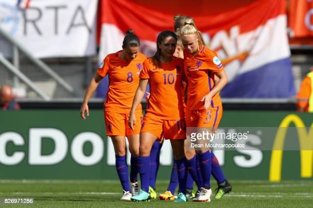 Lieke Martens of the Netherlands celebrates with team mates after scoring her teams second goal of the game during the Final of the UEFA Women's Euro...