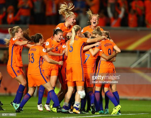 Lieke Martens of The Netherlands celebrates with team mates following the UEFA Women's Euro 2017 Semi Final match between Netherlands and England at...